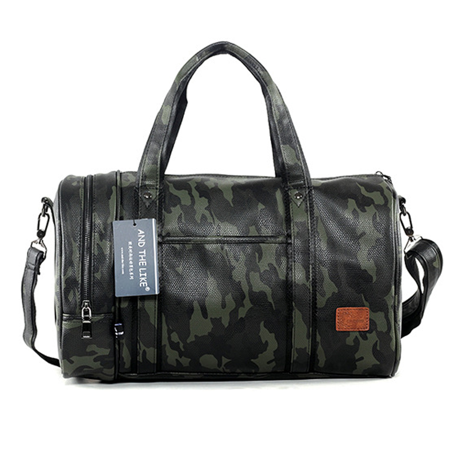 2017 hot sale camouflage leather big travel bag male large capacity famous brand handbags tote crossbody