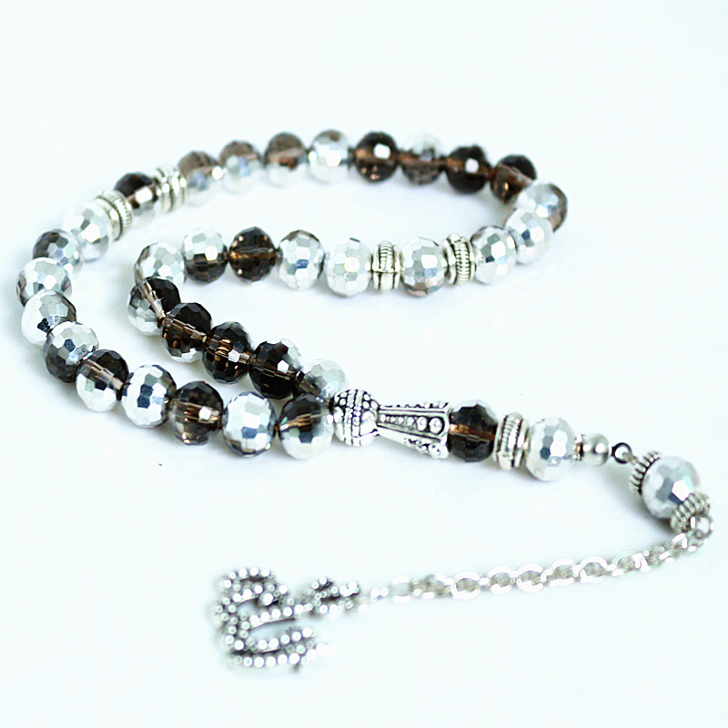 8mm Silver plated crystal Round Shape 33 Prayer Beads Islamic 