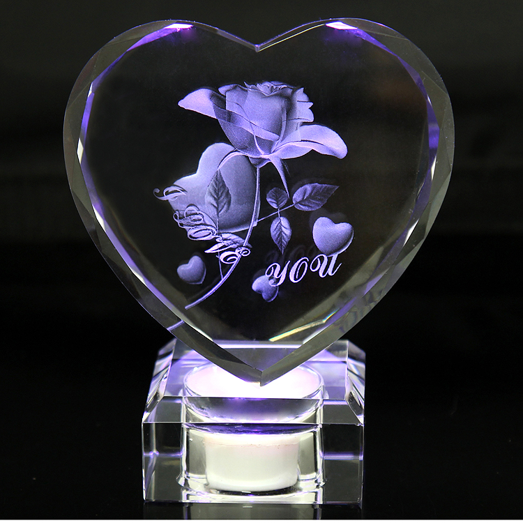 Personalized Crystal Faceted Heart Award 3D Laser Valentine's Day Crystal Rose Gift Souvenirs with Rechargeable LED Light Stand-in Statues & Sculptures from ...