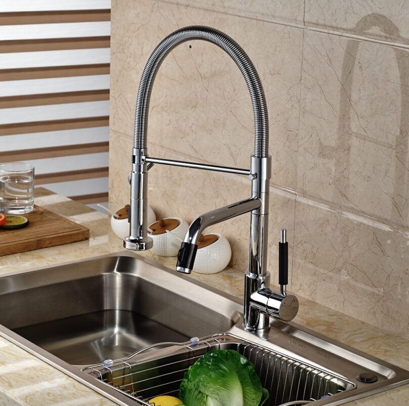 Luxury Dual Spout Pull Down Side Sprayer Kitchen Sink Faucet Deck Mount Hot  Cold Kitchen Water Taps In Kitchen Faucets From Home Improvement On ...
