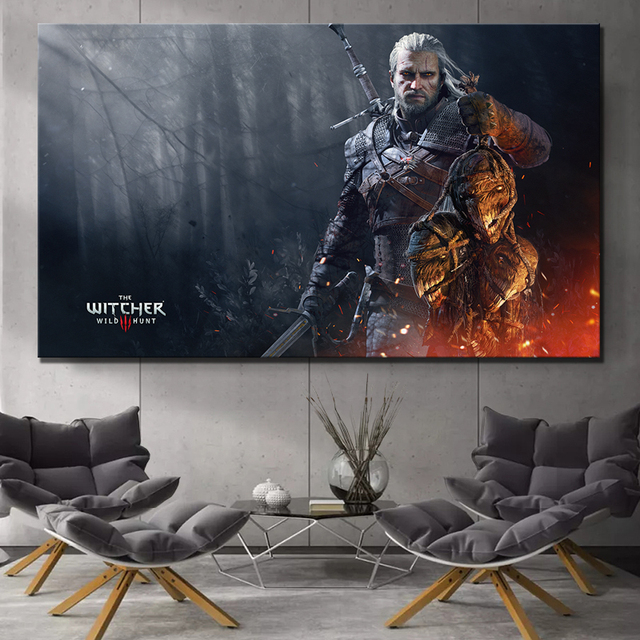 1 Piece The Witcher 3 Wild Hunt Geralt of Rivia Artwork Fantasy Art Video Games Poster Wall Paintings Canvas Art for Home Decor