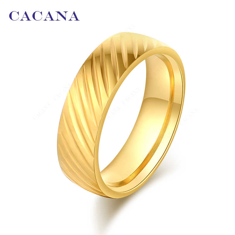 CACANA  Stainless Steel Rings For Women Surface Twill Personalized Fashion Jewelry Wholesale NO.R91