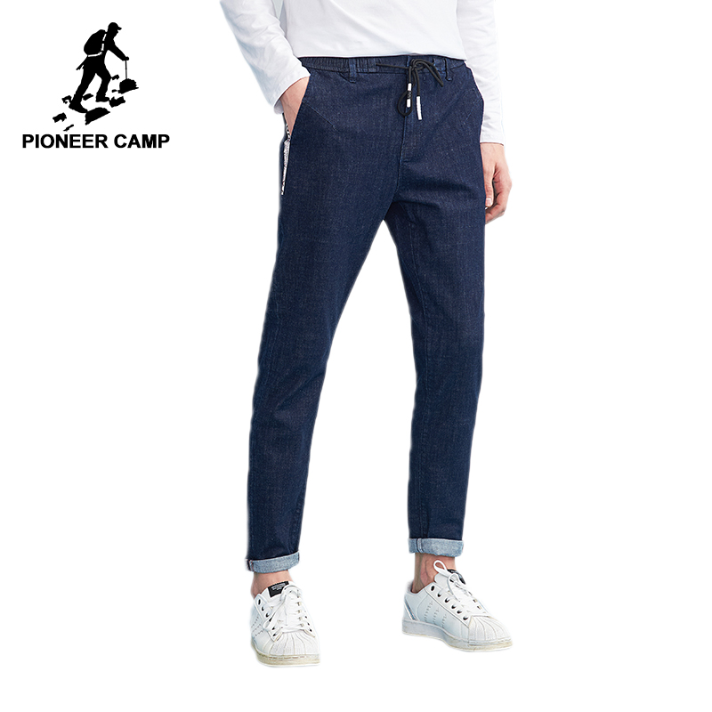 Pioneer camp new jeans pants mens brand clothing webbing design fashion trousers for men quality denim jeans male blue ANZ803106 men jeans 2017 new fashion full length solid skinny jeans men brand designer clothing denim pants luxury casual trousers male