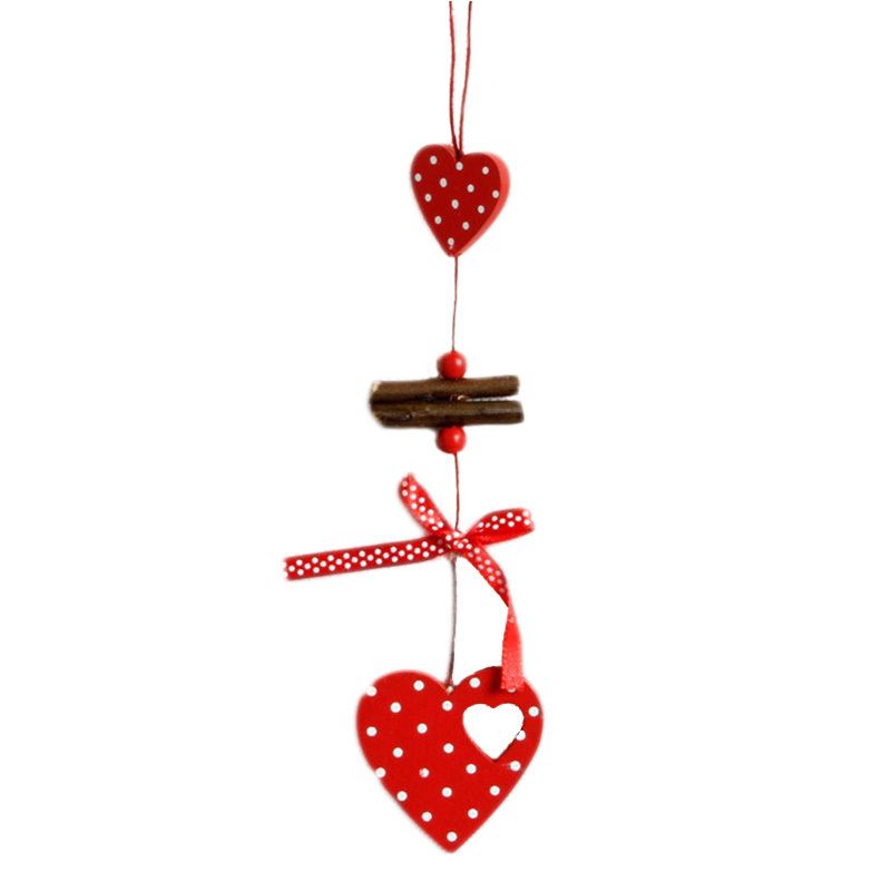 1pc White Dot Red Christmas Tree Hanging Pendant X-mas Wood Wall Hanging Christmas Party DIY Decoration Ornament