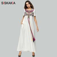 Siskakia Ethnic Geometric Embroidery Maxi Long Dress Summer Drawstring Tie Tassels Patchwork Dresses Holiday Long Robe Femme