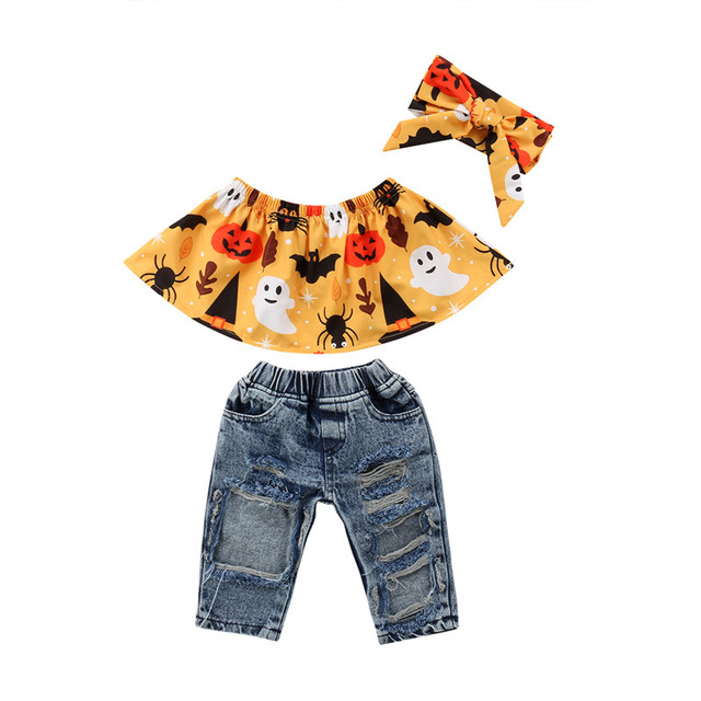 84b8f156e 3Pcs Halloween Clothes Set Sweet Toddler Kids Baby Girl Floral Printed  Ruffles Wrap Chest Tops Ripped Hole Denim Pants Party Set