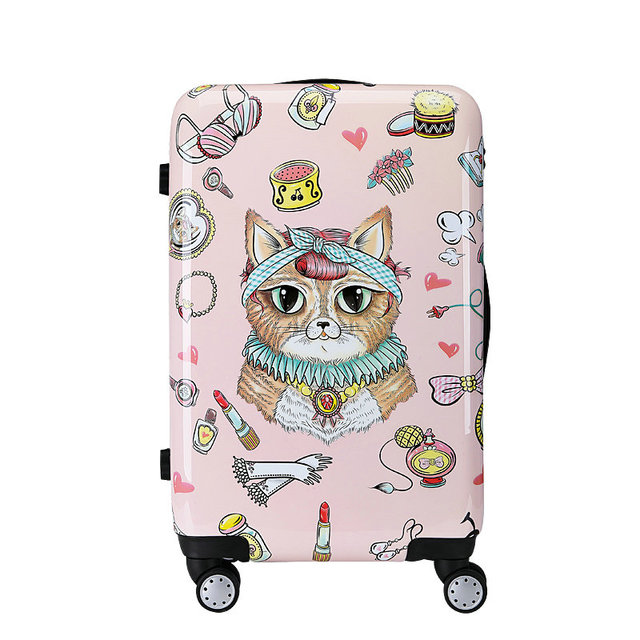 "New Fashion Meng Pet Cat Illustration Luggage Girls Cartoon Travel Suitcase PC Universal Wheels Trolley Luggage Bag 20"" 24"""