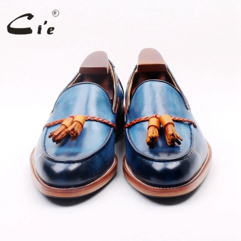 Ci'e cuir de veau pleine fleur sur mesure goodyear welted mélangé bleu/marron glands faits à la main sans lacet hommes chaussure bateau mocassin 166 2