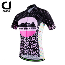 Cheji Women Bicycle Maillot Pink Cycling Jersey Bicycle Wear Top MTB Shirts Short Sleeve For Women