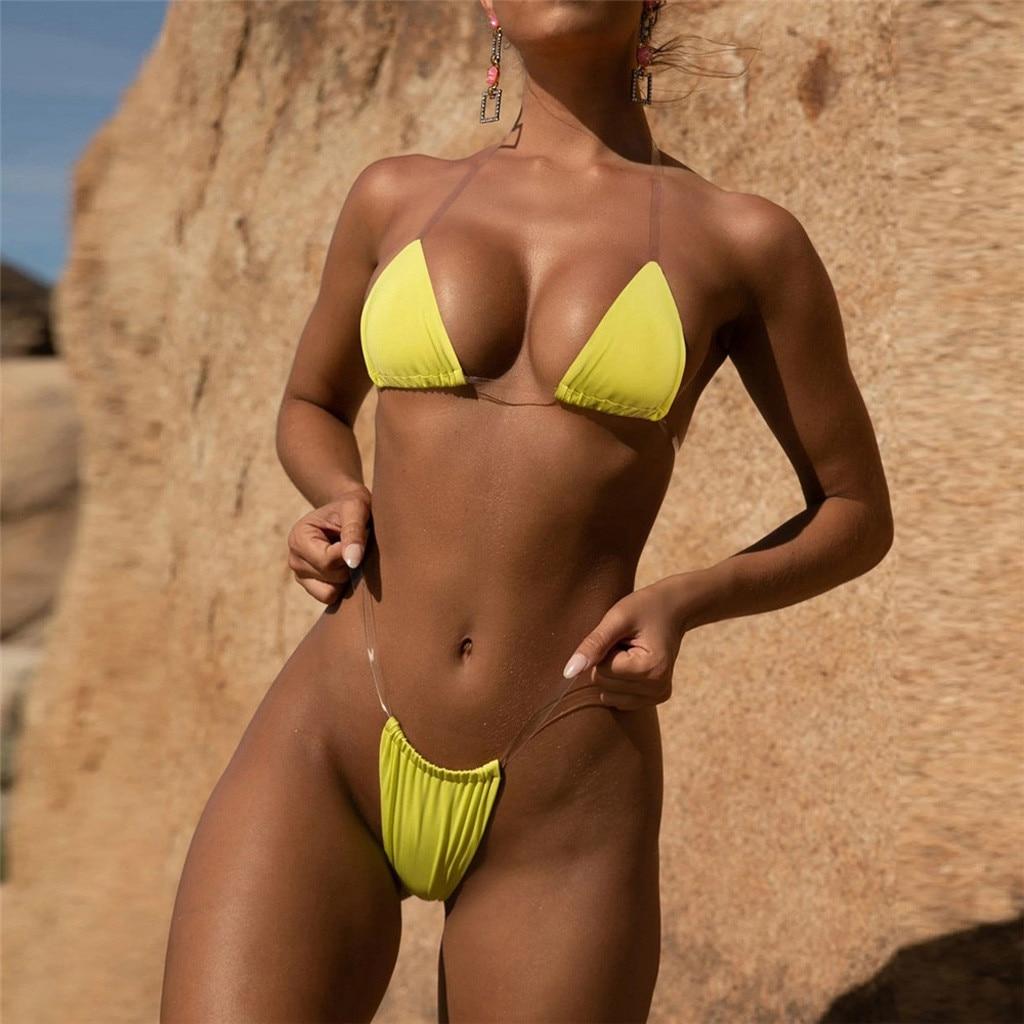 HTB1WS5ITwHqK1RjSZFEq6AGMXXa0 Transparent micro bikini 2019 Sexy thong swimsuit separate Bandeau Bikini Set Push-Up Clear Strap Brazilian Swimwear Biquini #H