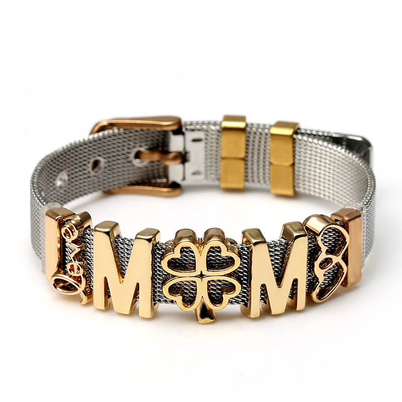 DINGLLY Stainless Steel Mesh Bracelets For Men Women Original Lucky MOM Aircraft Crown Charm Brands Bracelets Bangle new Gift(China)