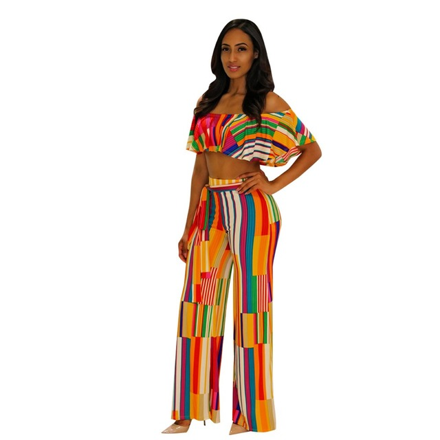 eee68a28955 Strapless Rainbow Striped Butterfly tracksuit Women s Set Summer Overalls  2PCS suits Lady outfit fashion sexy party Jumpsuits