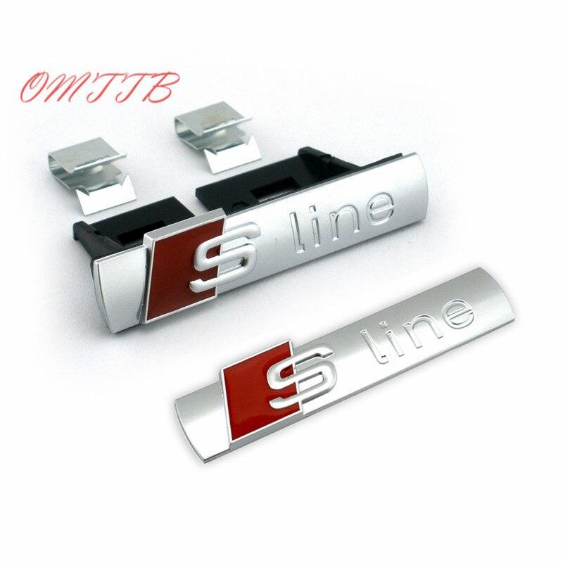 2pcs Set Car Styling sliver S Line Sline Grille + Fender Side + Back Emblem Decal Badge Sticker for AUDI S3 S4 A4 S5 A7 A8 Q7 Q5