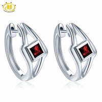 Hutang Natural Gemstone Clip Earrings Black Garnet 925 Sterling Silver Fine Fashion Elegant Jewelry for Women's Best Gift NEW