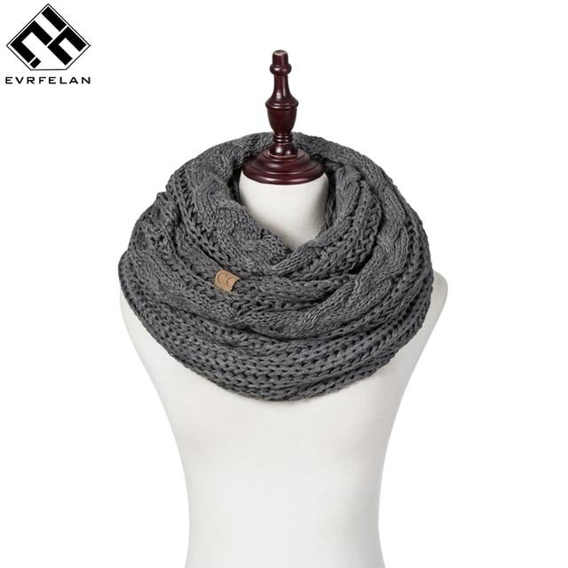 Evrfelan новый бренд зимний шарф для Для женщин вязаные шарфы Кольцо большого размера шарф Женская зимняя обувь шее носить Для женщин девушки подарок