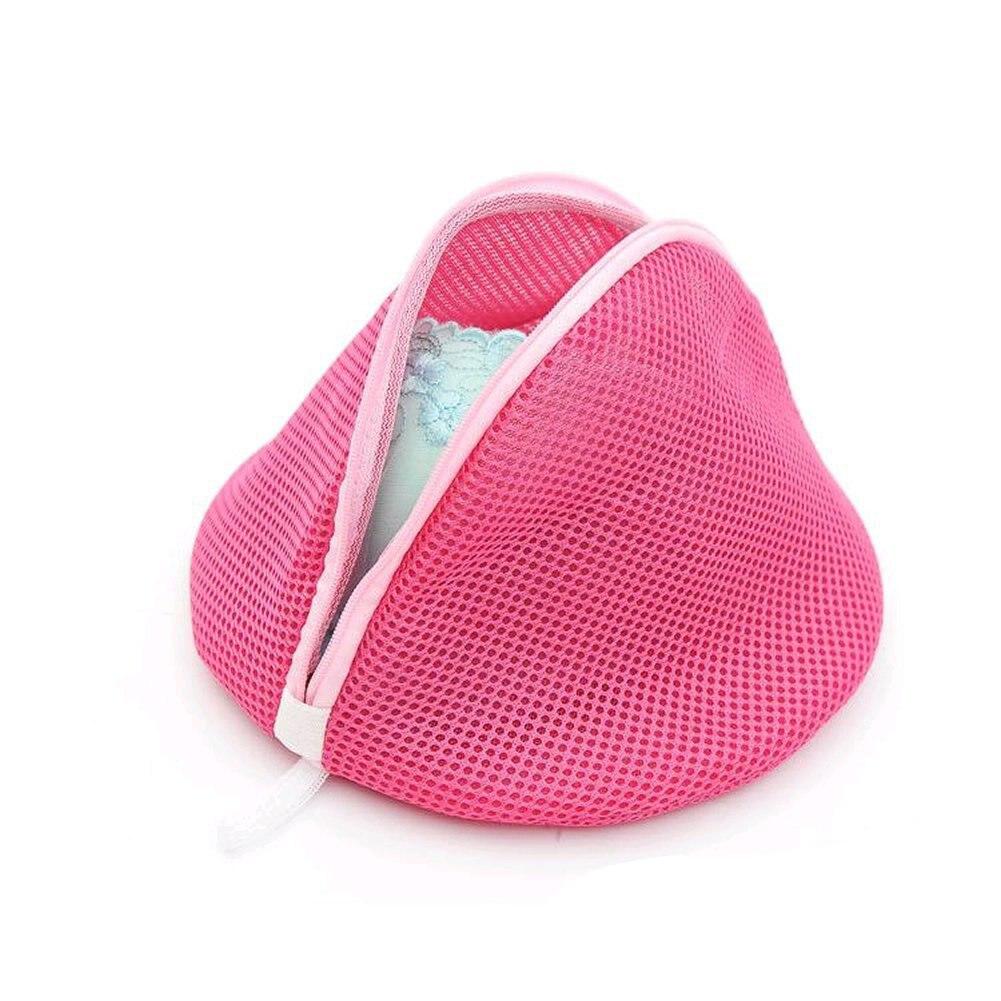 Women Bra Laundry Lingerie Washing Hosiery Saver Protect Aid Mesh Bag Cube -Pink