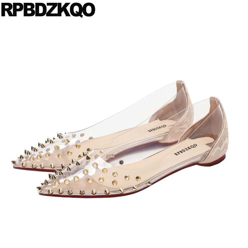 rivet ladies transparent gold designer shoes china spring autumn flats female 2018 slip on pointed toe red stud beautiful womenrivet ladies transparent gold designer shoes china spring autumn flats female 2018 slip on pointed toe red stud beautiful women