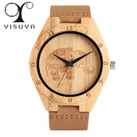 Simple Modern Wood Watch Elephant Women Genuine Leather Band Bamboo Creative Watches 2017 New Arrival Analog