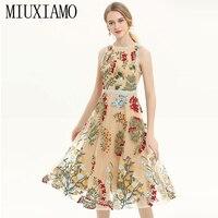 MIUXIMAO TOP QUALITY 2019 Fall Fashion Runway Casual Dress Embroidery Floral Vintage Elegant Dress Women vestidos
