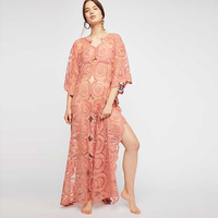 Beach Coverups For Women Wear Swimsuit Cover Up Swim Suit Summer Tunic Mat New 2018 Lace Dress Long Sleeve Neck Solid Acetate