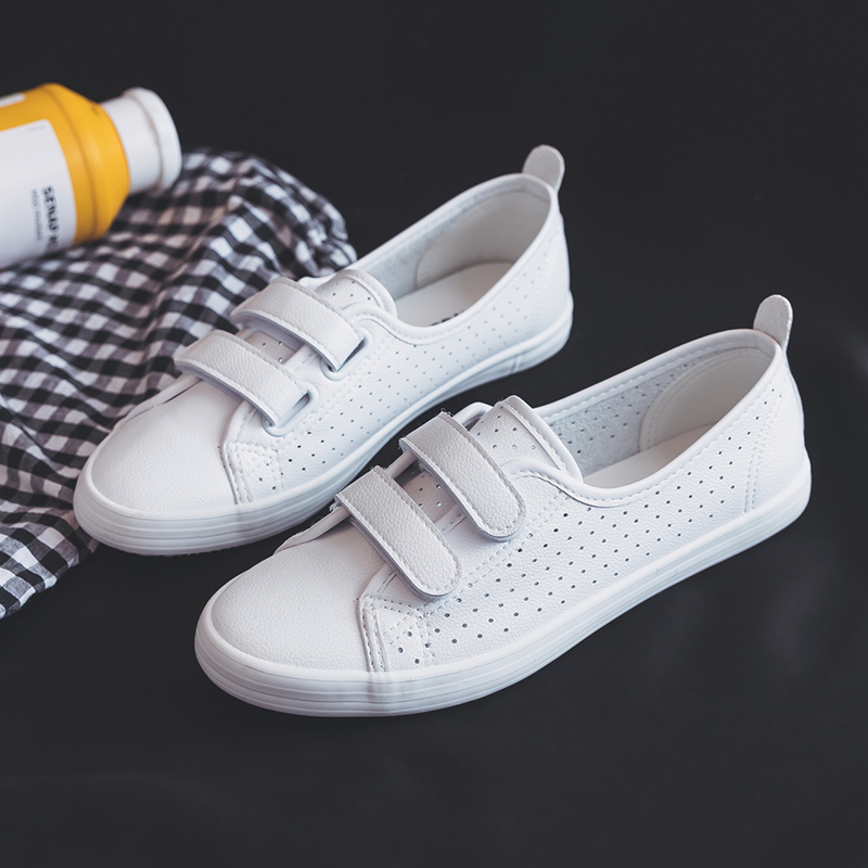 2018 Women Chic White Shoes Students Summer Breathable Casual Shoes Leather Female Sneakers with Holes Shallow Flats Size 35-40 rizabina concise women sneakers lady white shoes female butterfly cross strap flats shoes embroidery women footwear size 36 40