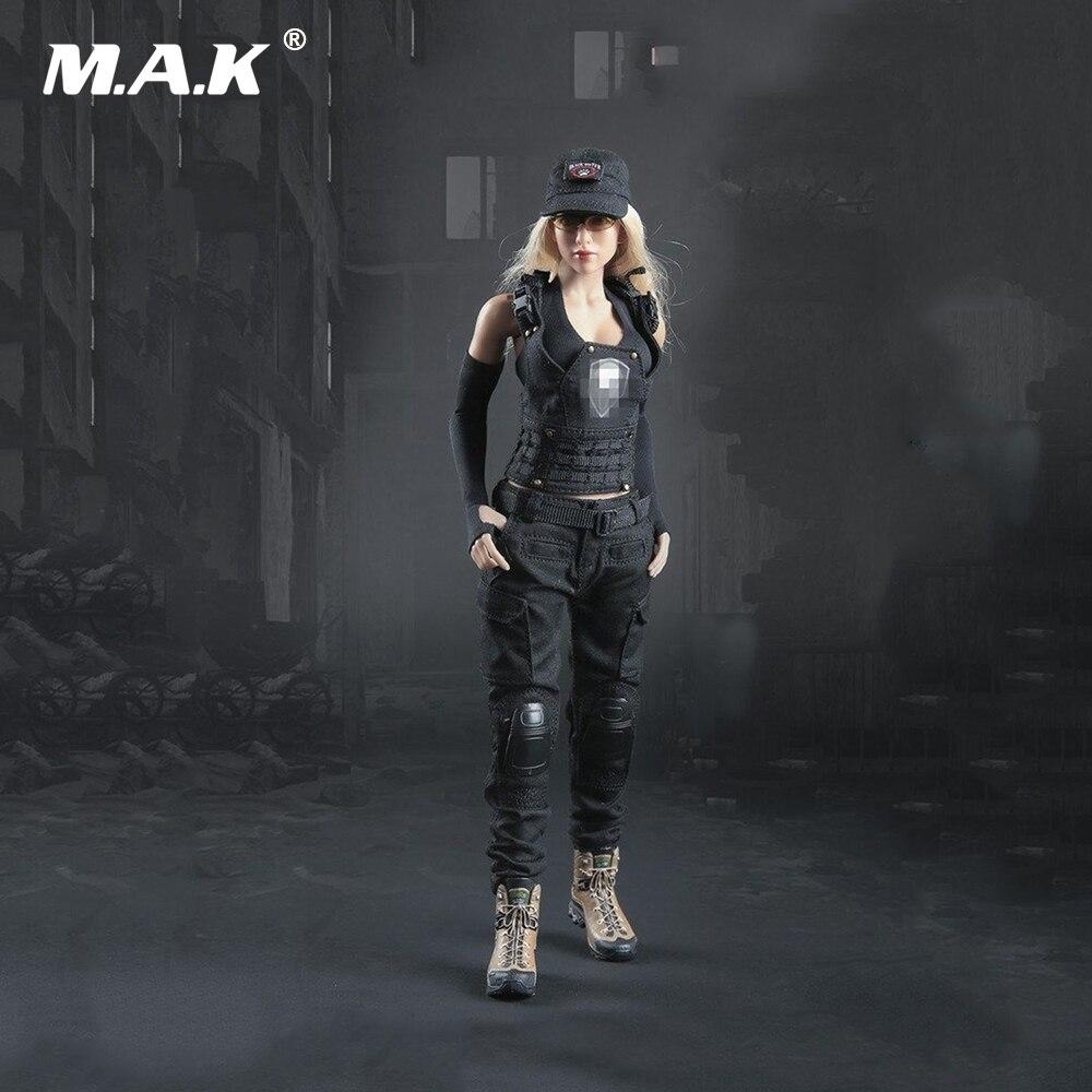 1 6 FG048B Tactical Woman Gunner Black Clothes Set F 12 Body