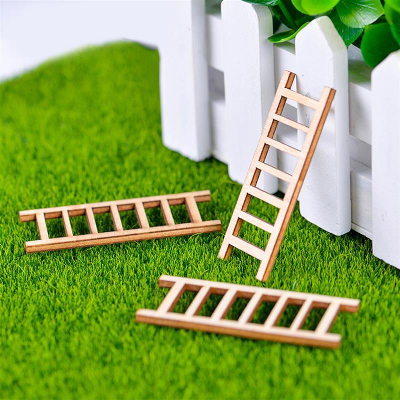 3 шт. мини Деревянная Стремянка Фея садовые миниатюры DIY кукольный домик сказочные миниатюры украшение садового орнамента