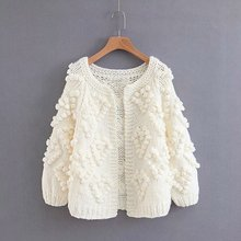 2018 Autumn Fashion Women Thick Imitation Cashmere Cardigan Sweaters Solid Color Hand Knitted Sweater Cardigans BB537