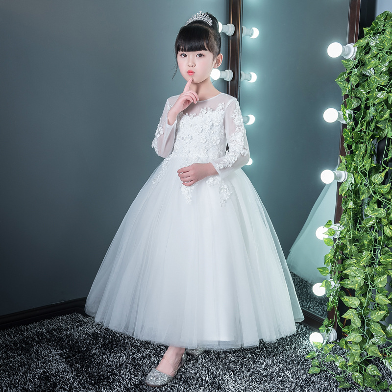 First Holy Communion Dress Long White Girls Party Gowns Hollow Out Sleeve Appliques Ball Gown Flower Girl Dresses for Wedding K цены