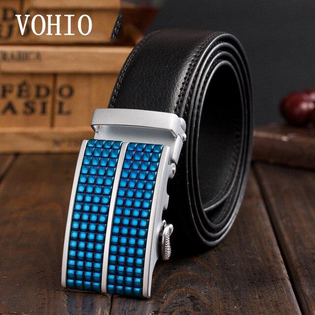 VOHIO2017 ceinture homme luxe marque Bleu diamant Automatiquement 100%  ceintures hommes en cuir d  fb7228d3901