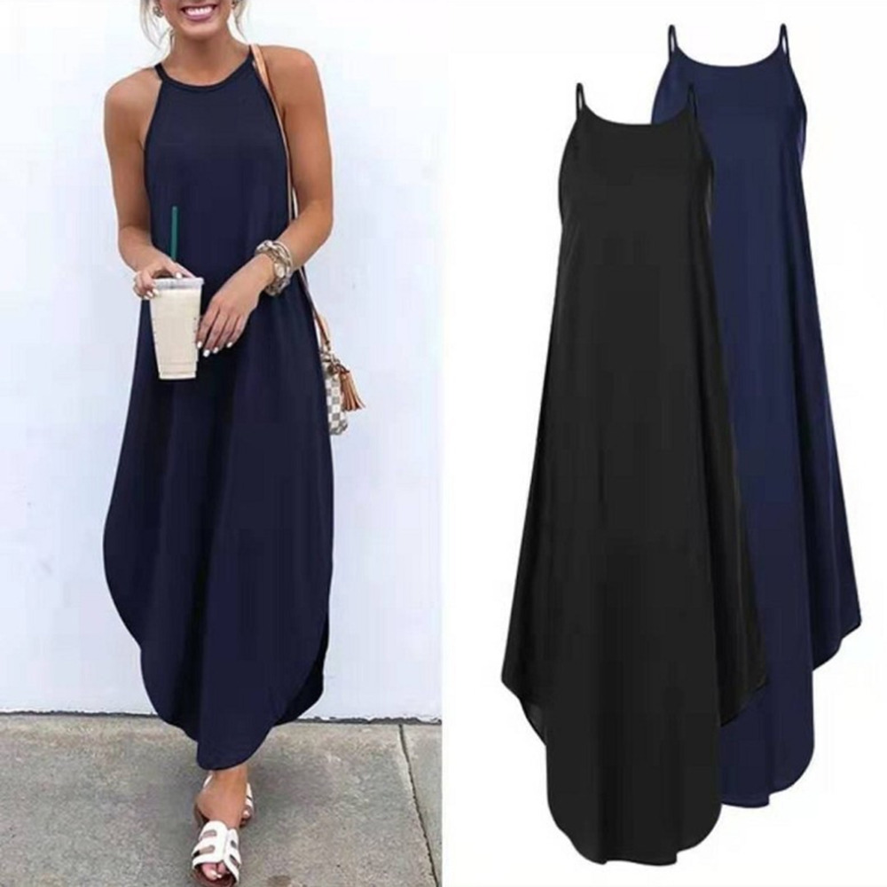 Women Dress Summer 2019 Casual Sleeveless Retro Halter Solid Beach Long Dress Round Neck Sling Fashion Beach Clothes Plus Size