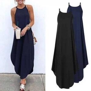 Women Dress Summer 2020 Casual Sleeveless Halter Solid Beach Long Dress Round Neck Sling Fashion Beach Clothes Plus Size 5XL