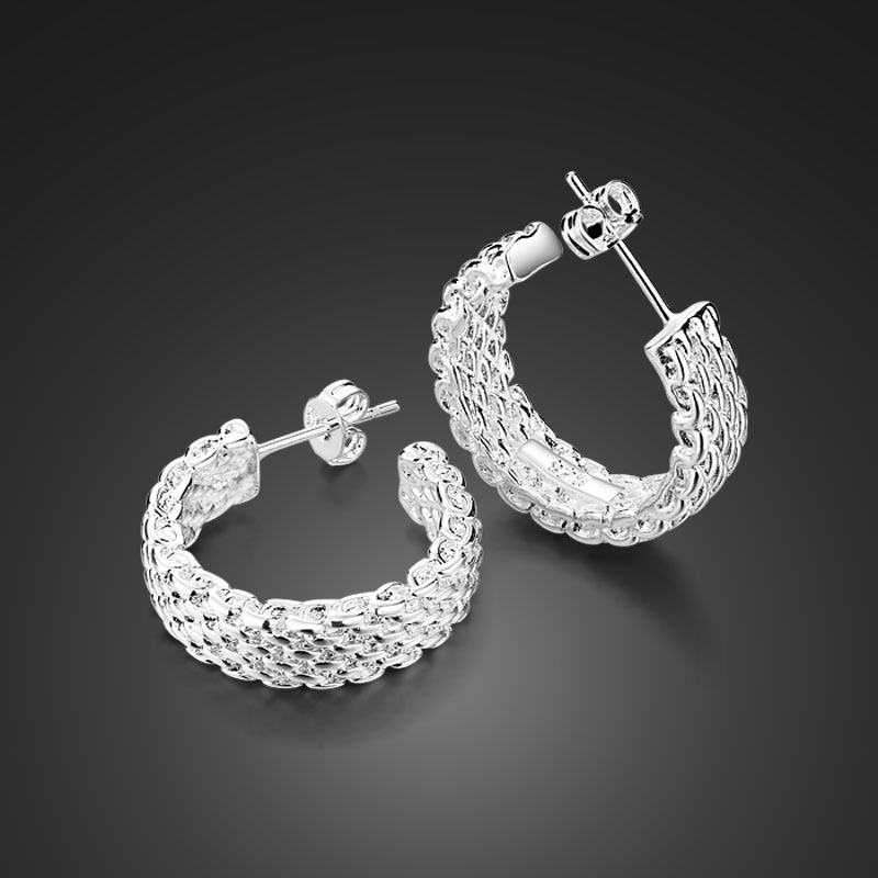 Wholesale fashionable sterling silver jewelry retro style S925 silver nail earrings attractive women solid silver ear rings