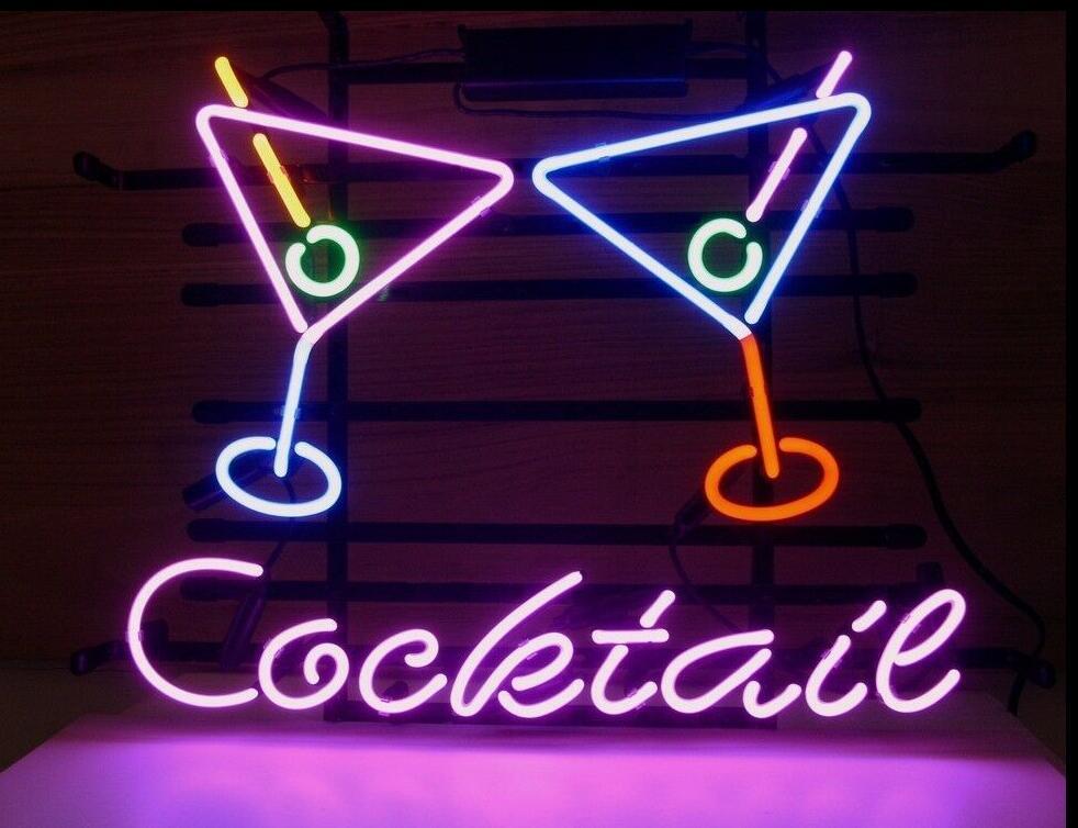 Cocktail personnalisé Martini bière verre néon signe barre de bière