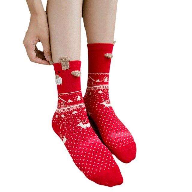 c2b4fcc8d Women Girls Christmas Socks Snow Print Cartoon Elk Female Red Cute Casual  Style Socks
