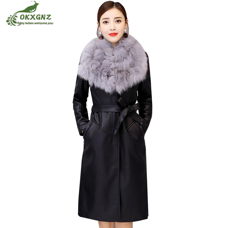 2019Leather Winter Jacket Female Long Real Fur Collar Moto Biker Coat Plus Velvet Warm Outerwear Women's   Leather   PU Casual Parka