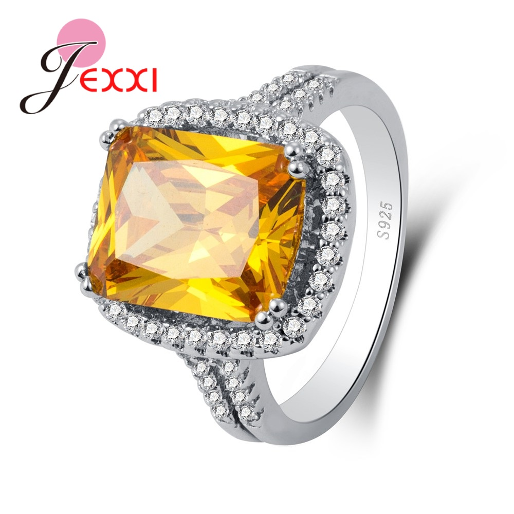 JEXXI Best Quality 925 Sterling Silver Rings Paved Brilliant Yellow Cubic Zirconia Stackable Finger Ring For Women Special Gifts