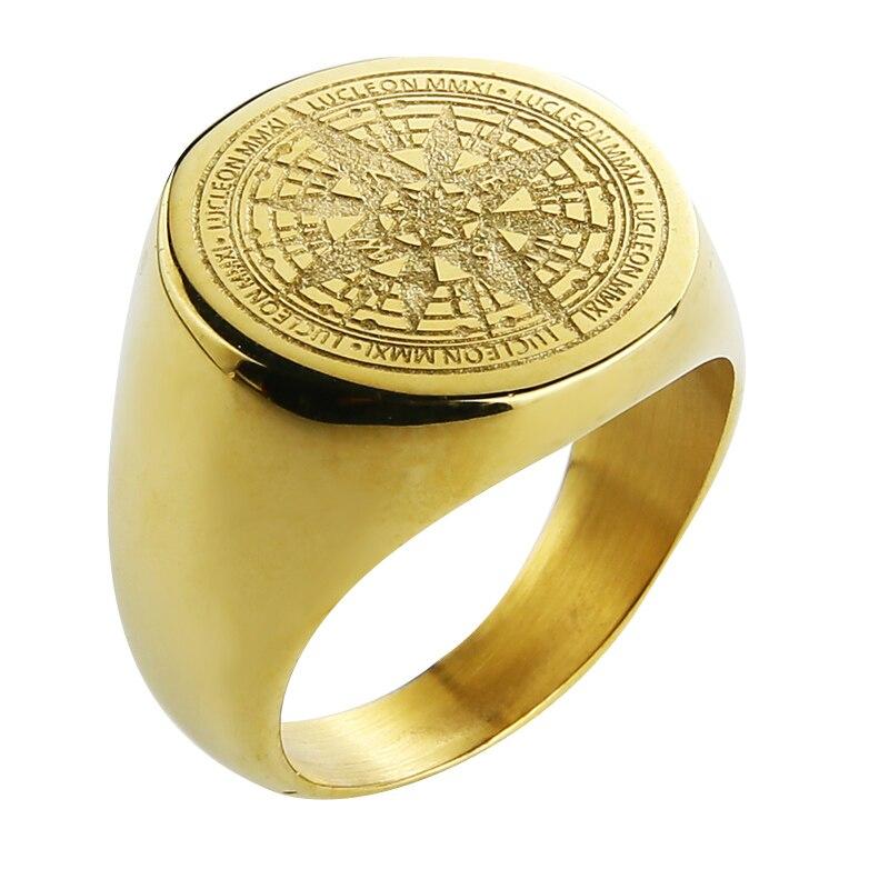 Valily תכשיטי Mens טבעת פשוט עיצוב מצפן טבעת זהב נירוסטה אופנה שחור להקת טבעות לנשים גברים Navigator טבעות