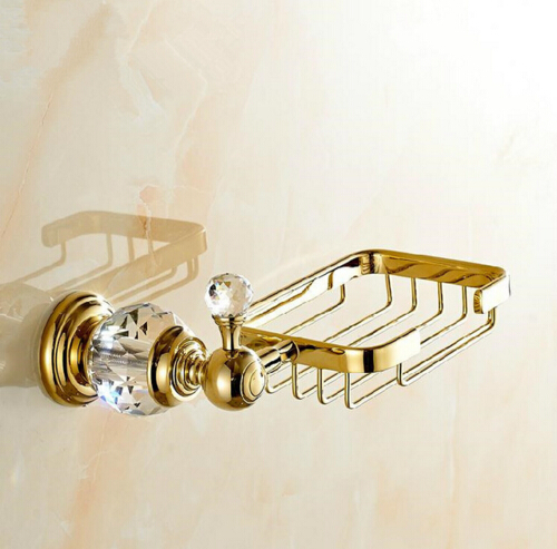Free Shipping Crystal & Brass bathroom shelf Gold Bathroom Accessories Soap Dishes / Soap Holder/Soap Case antique brass with ceramic soap holder bathroom shelf copper soap dishes soap basket bathroom accessories banheiro accessories