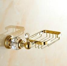 Бесплатная доставка кристалл и латунь полка ванной золотые ванной аксессуары мыльницы / / мыло чехол