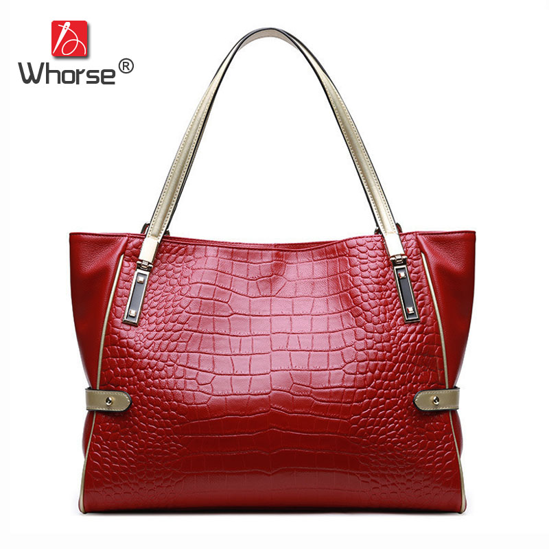 [WHORSE] Brand Alligator Genuine Leather Women Shoulder Bags Large Capacity Casual Tote Handbag Shopping Bag Crocodile W09130