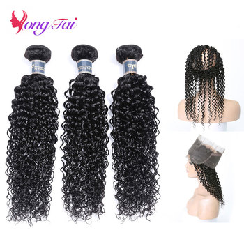 YuYongtai Hair 360 Lace Frontal With Bundles Peruvian Kinky curly Hair 100% Human Hair Non Remy Free Shipping No Tangle image