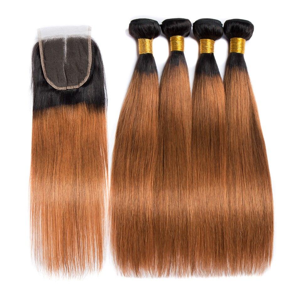 ALIBELE 1B 30 Dark Blonde Bundles with Closure Remy Human Hair Brazilian Straight Hair Weave 3