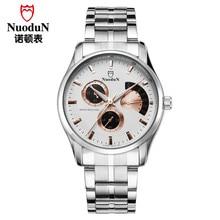Nuodun 2016 Marca de Lujo Completo Reloj de Acero Inoxidable de Los Hombres Reloj de Cuarzo Ocasional Masculina Impermeable Reloj de Pulsera