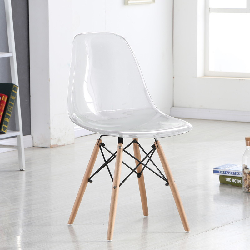 Fantastic Us 126 0 Modern Design Loft Transparent Clear Acrylic Dining Side Smoke Chair With Wood Legs Plastic Classic Chair Fashion Dining Chair In Dining Spiritservingveterans Wood Chair Design Ideas Spiritservingveteransorg