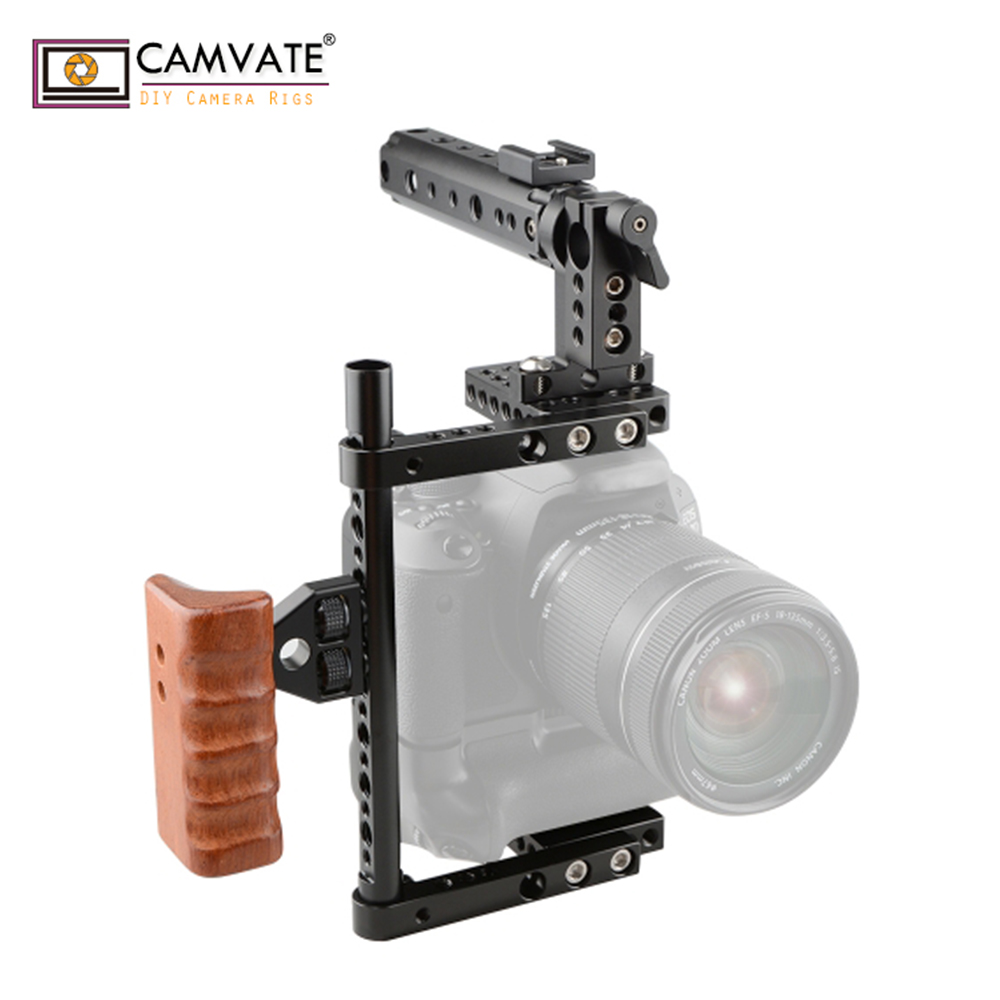 CAMVATE Universal Cage Top Handle Wood Grip For 80D, GH5 (Large) C1561 Camera Photography Accessories