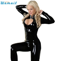 Delicate Hot Women Fashion Super Sexy Elastic Adult Black PVC Leather Like Tight Coverall Bodysuits Maio