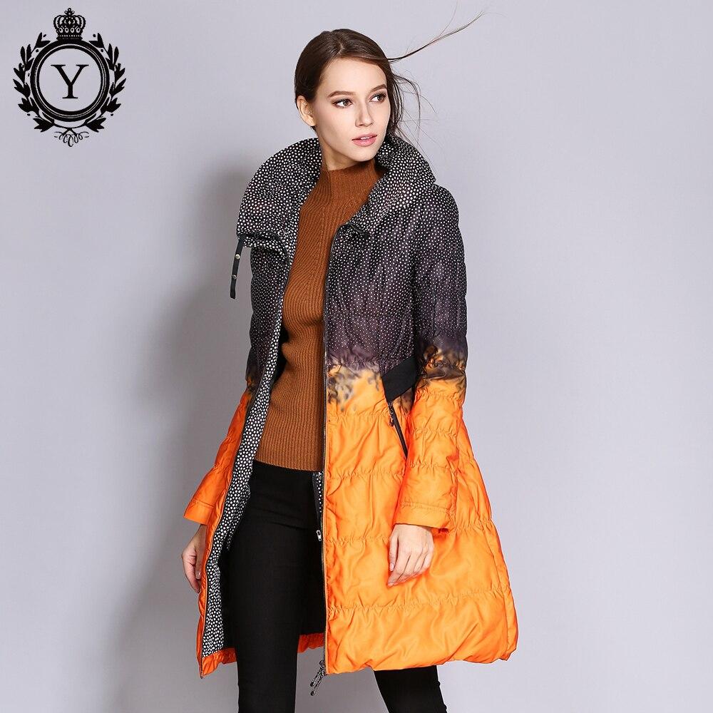 COUTUDI оптовая продажа Для женщин вниз куртка большого размера Длинные куртки с напечатанным рисунком зима Для женщин стеганое пальто Верхня...