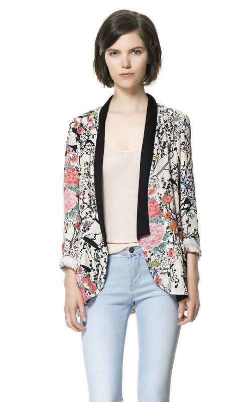 Blazer Women Brand Suit Jacket Floral Print Ladies Casual Coats Female Printed Blazers Suits OL blazer feminino Kimono Coat - Angel Cube store