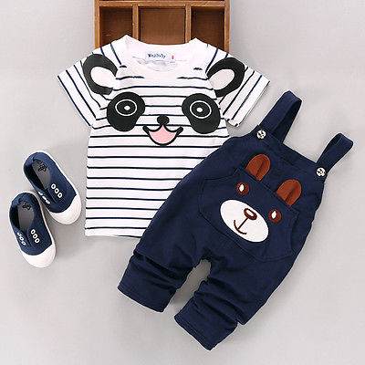 Toddler Newborn Kids Baby Boy Cartoon Panda Cotton T-shirt Striped Top+Bear Pants Trousers 2pcs Outfits Set